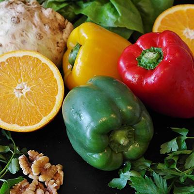 Foto con vegetales y frutas