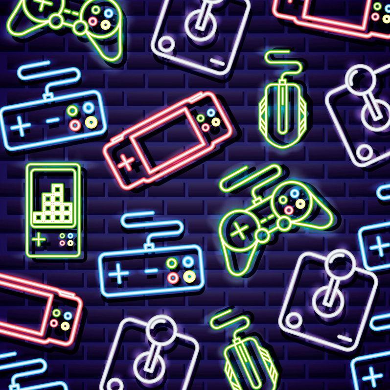Dibujo con varios mandos de videojuegos